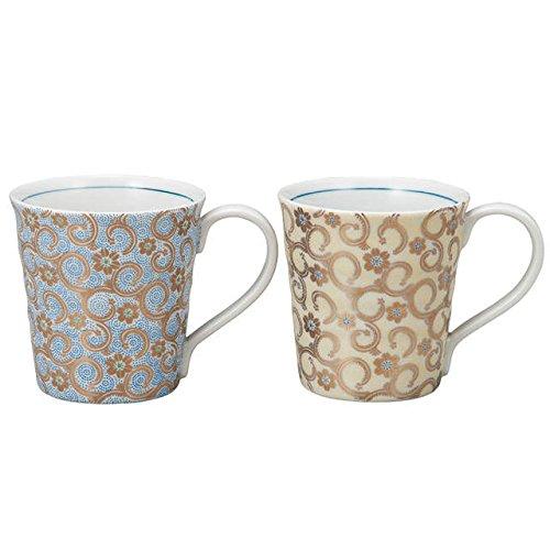 Japanese drawn Ceramic Porcelain kutani ware. Pair Mug