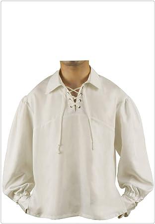 Z-one 1 Medieval Pirata con cordones para hombre Cuello alto Ancho Camisa de disfraces Tops: Amazon.es: Salud y cuidado personal