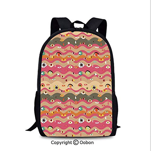 Laptop Computer Backpack, Psychedelic Groovy Abstract Composition with Various Eyes Wavy Color, School Bag :Suitable for Men and Women, School, Travel, Daily use, etc.Multicolor