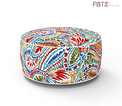 FBTS Prime Outdoor Inflatable Ottoman Red and Orange Paisley Round 21x9 Inch Patio Foot Stools and Ottomans Portable Travel Footstool Used for Outdoor Camping Home Yoga Foot Rest (Paisley Blue Ottoman)