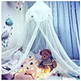 Hidecor Mosquito Net Bed Canopy Netting Princess Stars Indoor Outdoor Dome Play Bed Tent for Girls Boys Kids,White