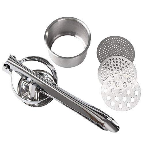 Potato Ricers - Stainless Steel Potato Mashers for Fruit and Vegetable Press, with 3 Interchangeable Discs for Coarse & Fine Ricing and 1 Multi-Function Peeler