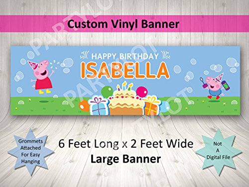 (Peppa Pig Birthday Banner Personalized Custom Peppa Pig Party Decoration Large)