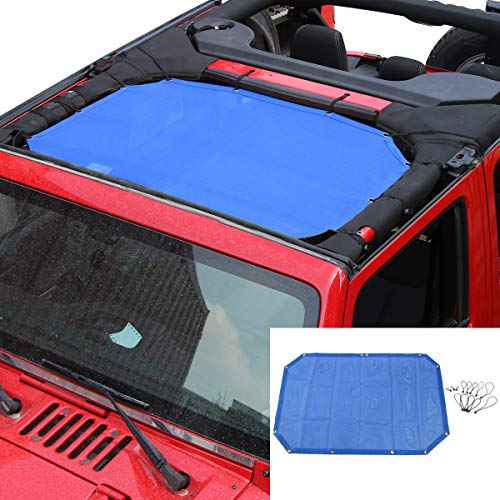 SunShade Top Cover Provides UV Sun Protection for Jeep Wrangler JK JKU 2007-2017 (Blue 2 Doors) by RT-TCZ
