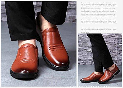 GLSHI Hommes Oxford 2018 New Casual Chaussures En Cuir Britannique Mode Gentleman Chaussures De Mariage À Talons Bas Marron CunhMYu