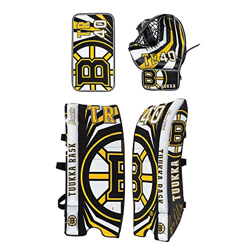 (Franklin Sports Tuukka Rask Tuukka Rask Street Hockey Goalie Equipment Set - L/XL Goalie Pads Catch Glove & Blocker - NHL Official Licensed Product)