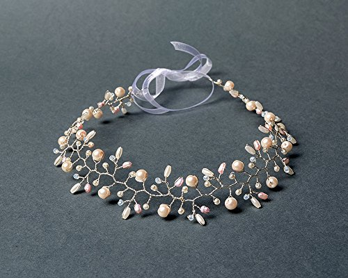 Bridal hair vine with pink freshwater pearls, white glass pearl beads and crystals beads.