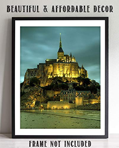 Mont Saint-Michel Island City With Night Lights- 8 x 10 Wall Art Image Ready to Frame! Home Décor, Office Décor or Wall Art for Living Room. Beautiful Gift for European Lovers.