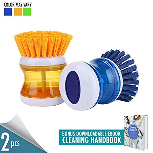 DishPanSoap Set of 2 Soap Dispensing Palm Brush, Nylon Bristle Dish Scrubber Brush, Dishwasher Safe Nonslip Grip Dish Brush with Soap Dispenser with Cleaning Handbook Ebook ()