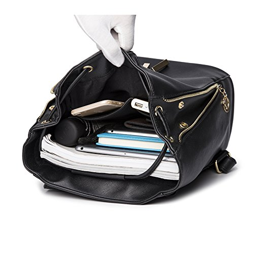 WINK KANGAROO Fashion Shoulder Bag Rucksack PU Leather Women Girls Ladies Backpack Travel bag (Black) by WINK KANGAROO (Image #2)