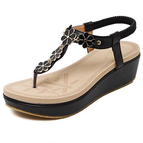 AllhqFashion Womens Kitten-Heels Solid Elastic Soft Material Split Toe Sandals Black