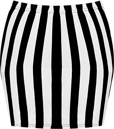 Tailles 36 jupe court moulant elastiqu Blanche mini 42 extensible jersey Noire Femmes WearAll Jupes Imprim Rayure xgqwPYqv