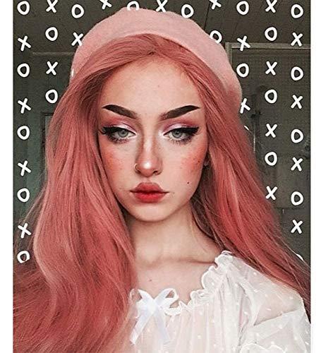 VEBONNY Rosa Lace Front Perücken für Frauen lange Haare synthetische Perücken 24 Zoll VEBONNY-055