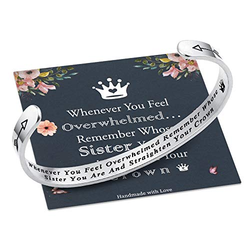 M MOOHAM Whenever You Feel Overwhelmed Remember Whose Sister Bracelet Straighten Your Crown Bracelet, Sister Gifts from Sister Bracelets Stainless Steel Inspirational Bracelet (Sister Crown Bracelet)