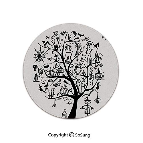 Halloween Decorations Round Area Rug,Sketchy Spooky Tree with Spooky Decor Objects and Wicked Witch Broom,for Living Room Bedroom Dining Room,Round 5'x 5',Black -
