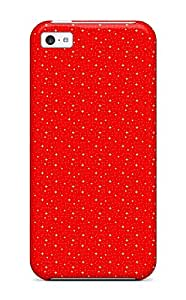 Premium Iphone 5c Case - Protective Skin - High Quality For Glittery Red Pinstripe