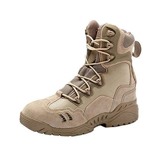 Zhuhaixmy Jagd Stiefel Tactical Boots Security Einsatzstiefel Trekking-Schuh Wanderschuh Bergschuh Wüstenschuhe Beige