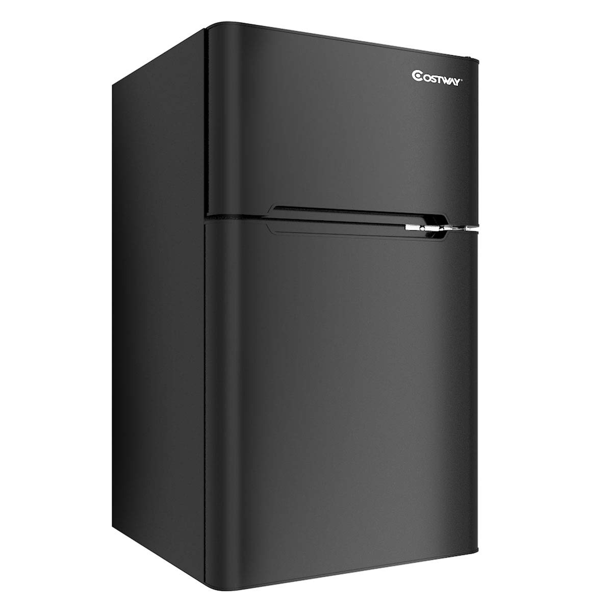 Costway Compact Refrigerator 3.2 cu ft. Unit Small Freezer Cooler Fridge (Black)