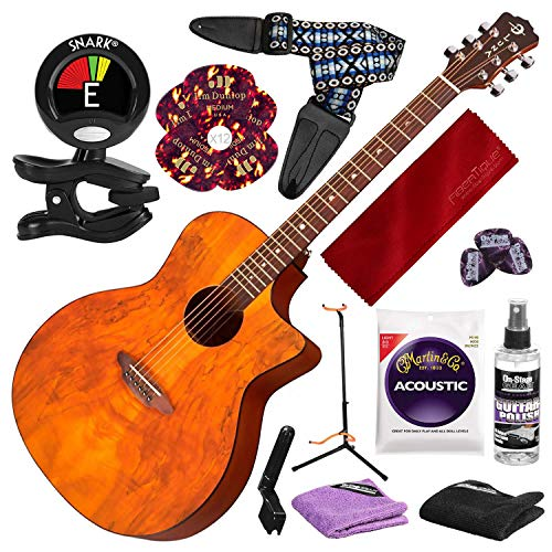 Luna Gypsy Spalt Acoustic Guitar with Guitar Stand and Deluxe Accessory Bundle (Luna Gypsy Spalt Grand Auditorium Acoustic Electric Guitar)
