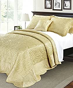 Amazon Com Serenta Quilted Satin 4 Piece Bedspread Set