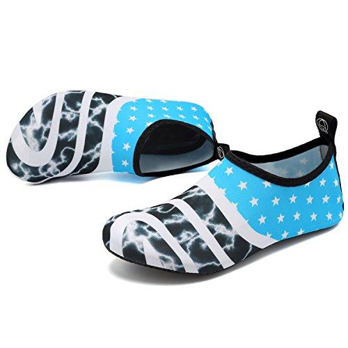 Barefoot Aqua Quick Slip Outdoor Water Swim for Dry Flagblue Womens SOVIKER Beach Exercise Mens Shoes Yoga On Surf qRvUnX