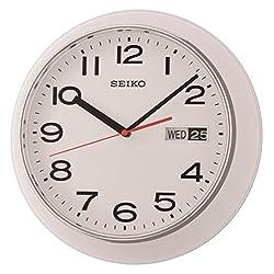 Seiko Day & Date Calendar Wall Clock - White