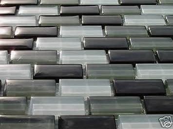 Fliesentopshop Glasmosaik Mosaik Fliesen 8mm Viele Sorten Grau Weiß
