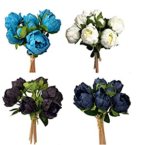Angel Isabella, LLC Real Touch Peony Bouquet-6blooms 2buds Home Decor Wedding, DIY Bouquet Corsage Centerpiece PU Realistic Feel Plum Purple Navy Blush Turquoise Cream Apple Red Coral 76