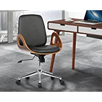 Armen Living LCWAOFCHBLACK Wallace Office Chair in Black Faux Leather and Chrome Finish