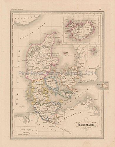Denmark Antique Map Malte Brun 1850 Original Danish Decor History Ancestry Gift Ideas