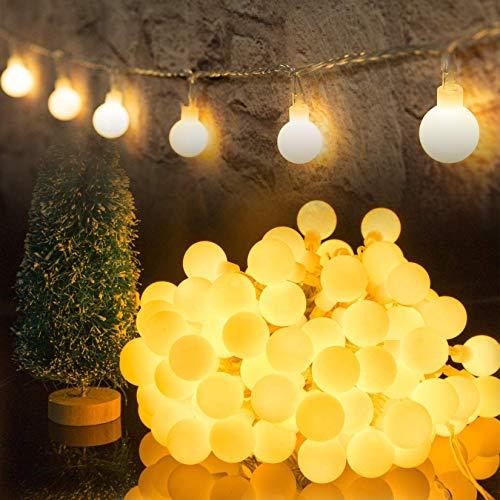 HOTLIKE Guirnalda Luces, Cadena de Luces 5M 50 LED, 2 Modos, Fairy String Light Pilas Luces Decoración para Navidad…