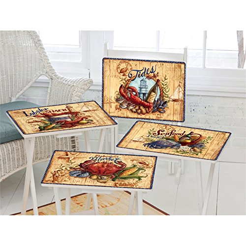 Cape Craftsment TV Trays with Stand, Set of 4 (Seafood Market) - Market Table Set