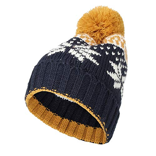 - WITHMOONS Knit Fairs Isle Nordic Bobble Pom Beanie Hat CR5128 (Yellow)