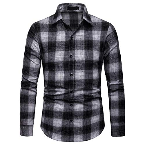 Sunmoot 2019 New Plaid Shirts for Men Business Work Long Sleeve Button Down Slim Fit Blouse Casual Top Black ()