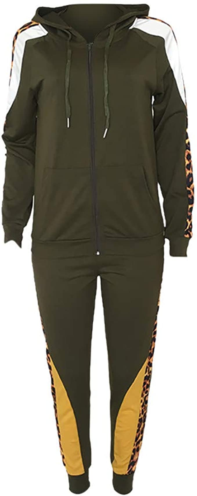 Dainzuy Women 2 Piece Outfits Tracksuit Sets Color Block Full Zip Jacket and Skinny Long Pant Sport Set Sweatsuits