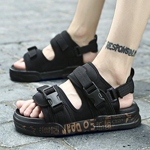 Xing Lin Sandalias De Hombre Nuevo Y Elegante Sandalias Abiertas Las Sandalias De Playa Niño Zapatos De Suela Gruesa Sandalias Y Zapatillas Verano black gold