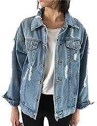 Womens Boyfriend Denim Jacket Casual Distressed Long Sleeve Loose Jean Jacket