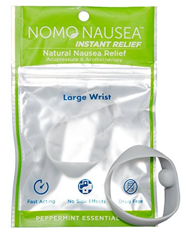 NoMo Nausea Instant Relief Large Gray Aromatherapy Anti-Nausea Bands with Acupressure