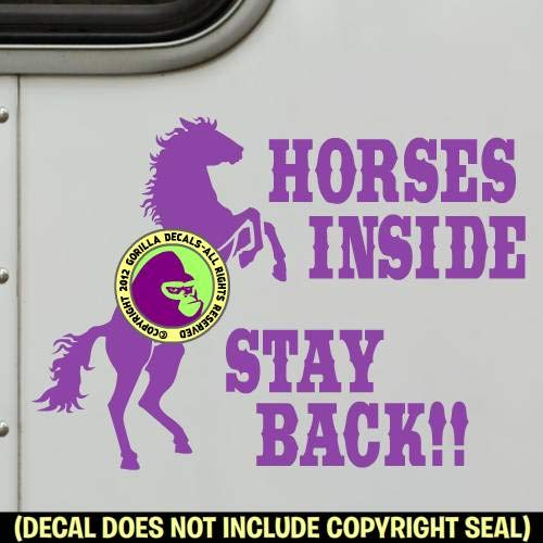 HORSES INSIDE STAY BACK REARING HORSE On Board Caution Trailer Vinyl Decal Sticker 1
