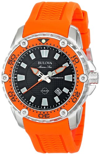 Bulova Men's 98B207 Stainless Steel Automatic Watch with Orange Rubber Band