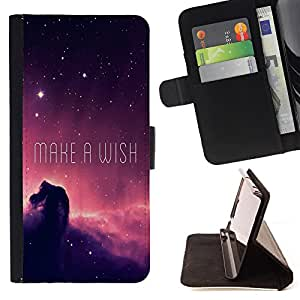 King Air - Premium PU Leather Wallet Case with Card Slots, Cash Compartment and Detachable Wrist Strap FOR LG Optimus G2 D800 D801 D802 D803 VS980 F320- Make a Wish