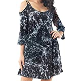 Vibola Dress Women, Fashion O-Neck Off Shoulder Sling Mini Dress (XL, Black)