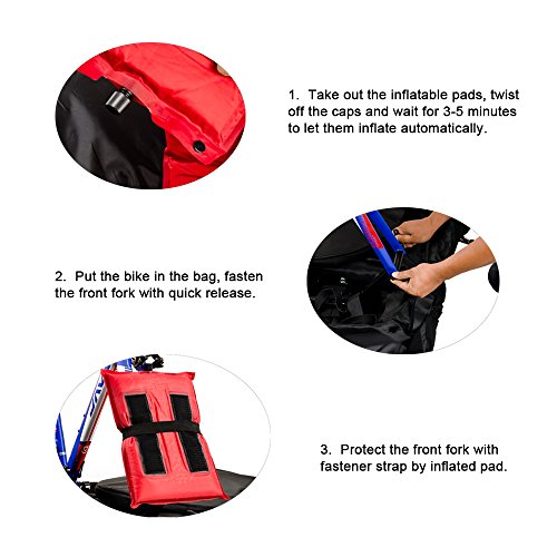 Lixada Automatically Inflatable Pad Bike Transport Travel Bike Carry Bag Nylon Pad Bag for 700C Road Bike by Lixada (Image #4)'