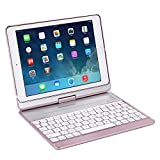 KINGEAR K760 New iPad Wireless Keyboard Case for iPad Pro 9.7 / 2017 New iPad 9.7 / iPad Air / iPad Air 2 (Rose gold)