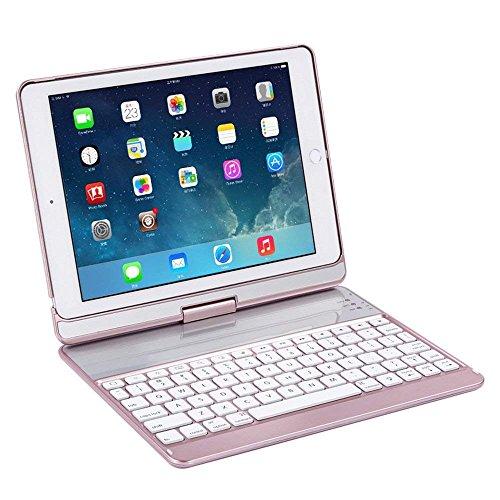 KINGEAR K760 New iPad Wireless Keyboard Case for iPad Pro 9.7 / 2017 New iPad 9.7 / iPad Air / iPad Air 2 (Rose gold) by KINGEAR