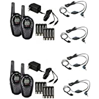 (2) Pair COBRA CXT225 20 Mile GMRS/FRS 2-Way Radio Walkie Talkies + (4) Headsets