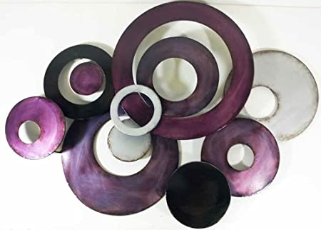 New - Metal Wall Art Decor Sculpture - Purple Linked Circle Disc Abstract  sc 1 st  Amazon UK & New - Metal Wall Art Decor Sculpture - Purple Linked Circle Disc ...