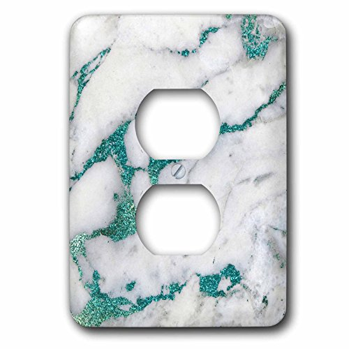 3dRose Uta Naumann Faux Glitter Pattern - Image of Luxury and Trendy Teal Metal Glitter Veins Gray Marble - Light Switch Covers - 2 plug outlet cover (lsp_275087_6) by 3dRose