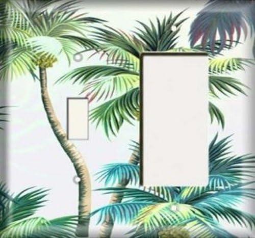 Palm tree single GFCI rocker light switch plate cover
