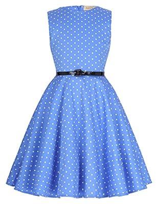 Kate Kasin Girls Sleeveless Vintage Print Swing Party Dresses